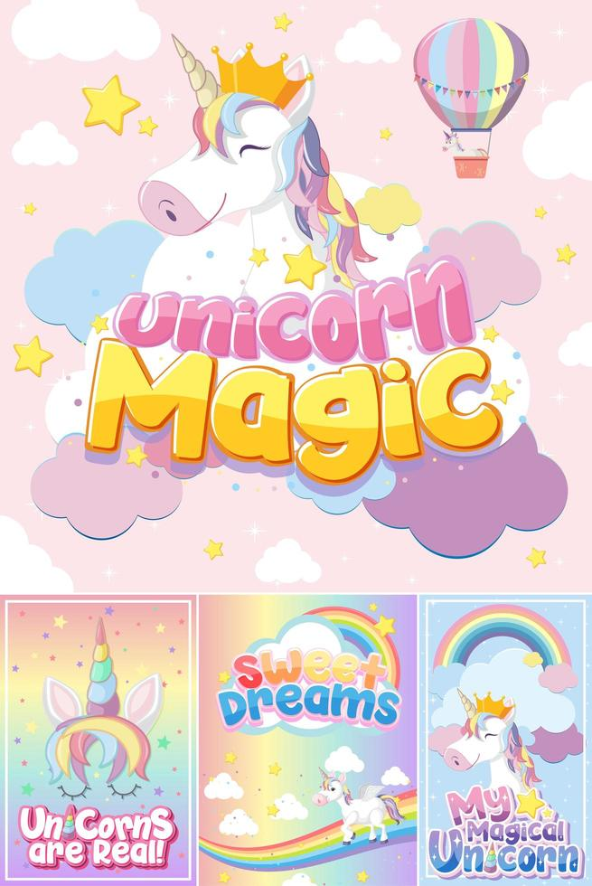 Cute unicorn banner on pastel background color vector