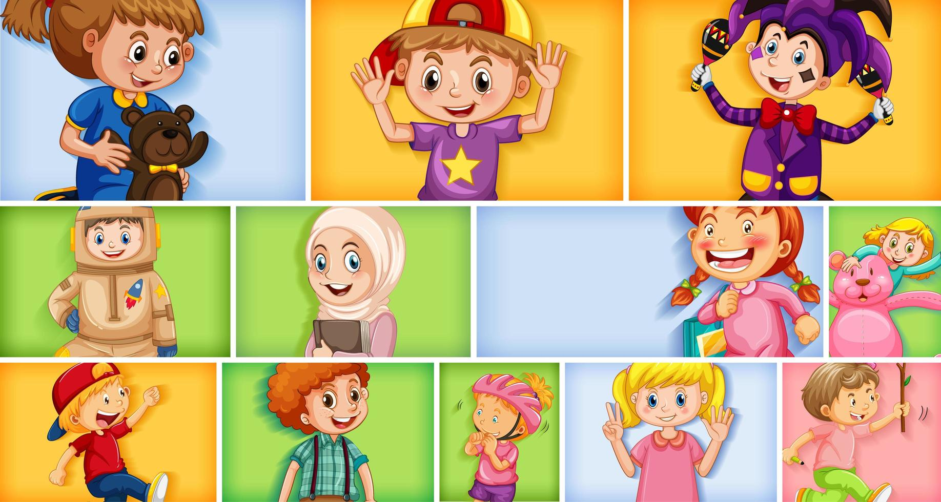 Set of different kid characters on different color background vector