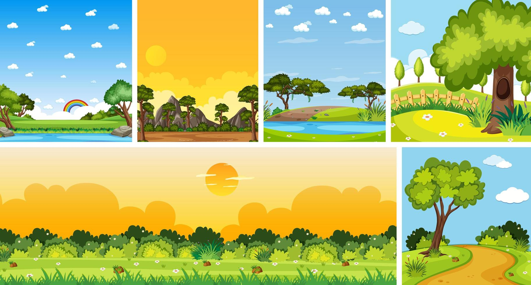 Conjunto de diferentes escenas de lugares de la naturaleza en escenas verticales y del horizonte durante el día. vector