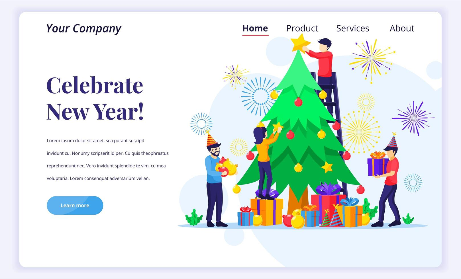 People decorating a Christmas tree vector