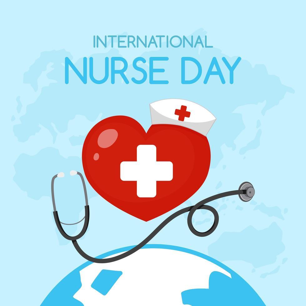 logotipo del día internacional de la enfermera con cruz médica en el corazón vector