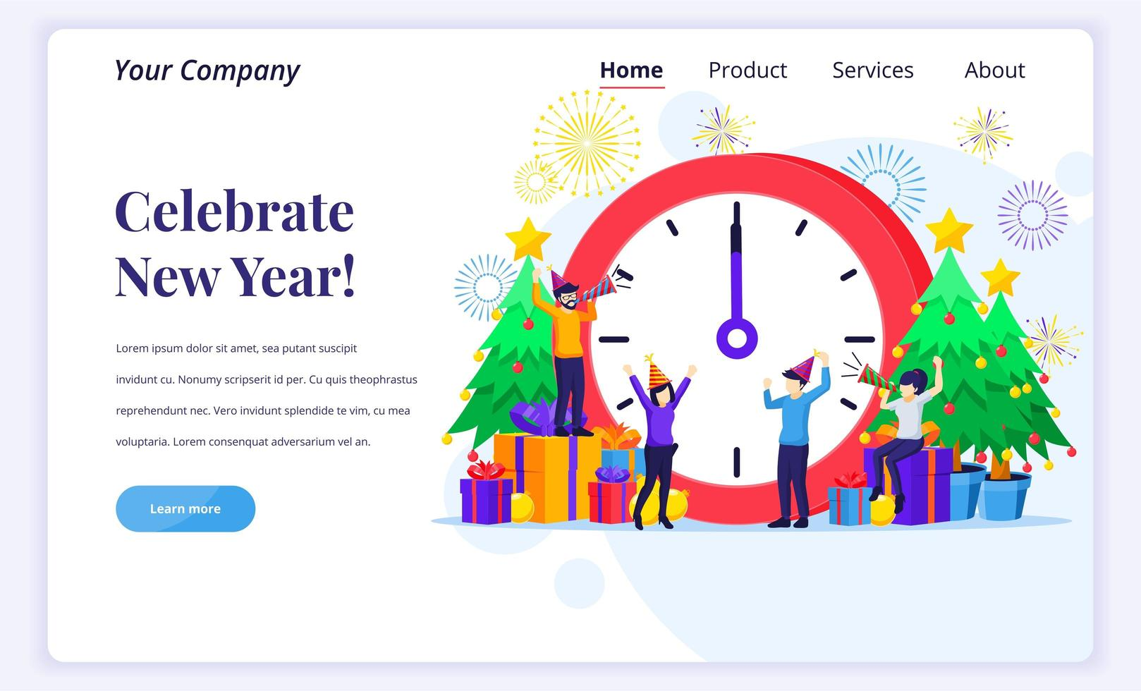 People celebrating the new year at a giant clock vector