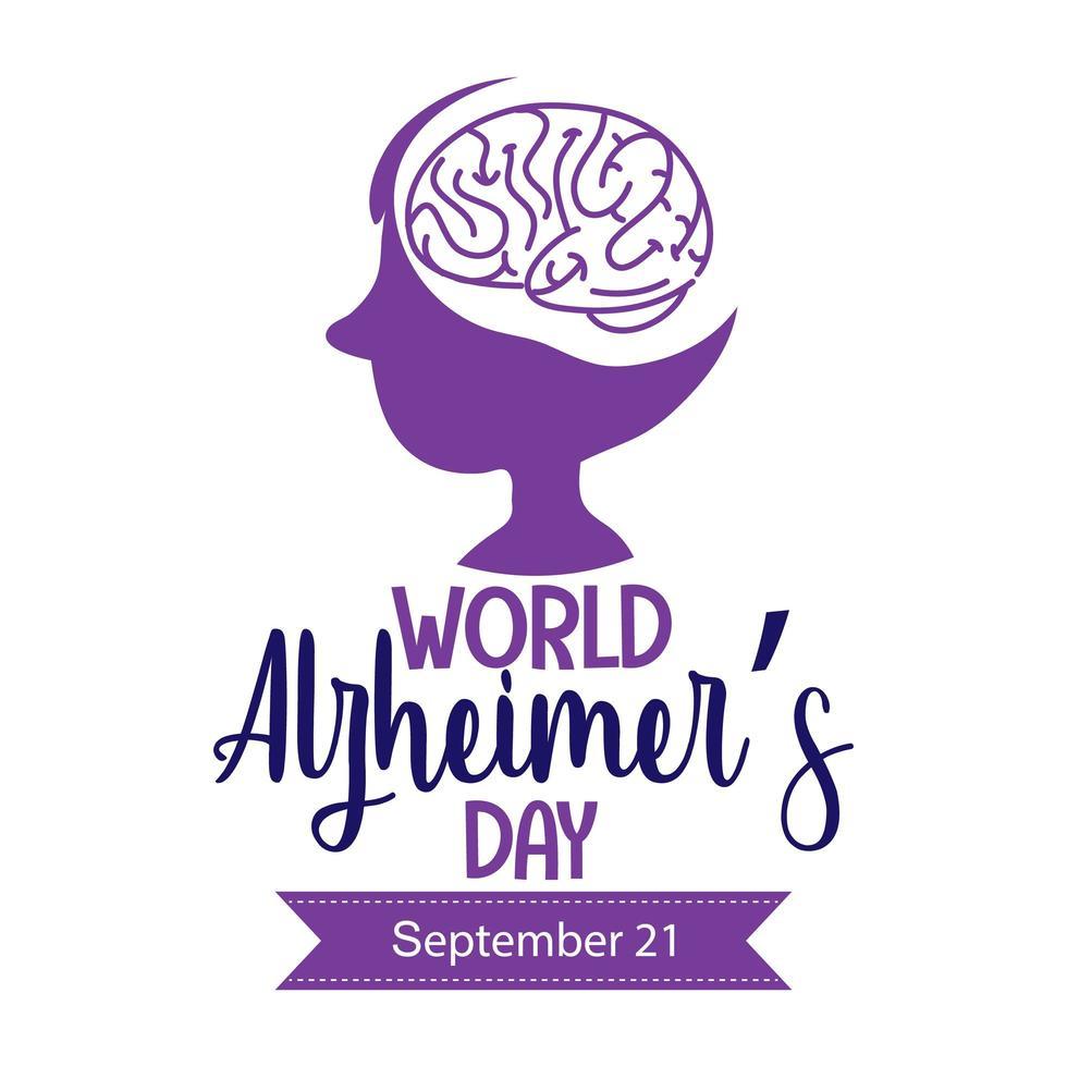 logotipo del día mundial del alzheimer o banner con silueta de cerebro vector