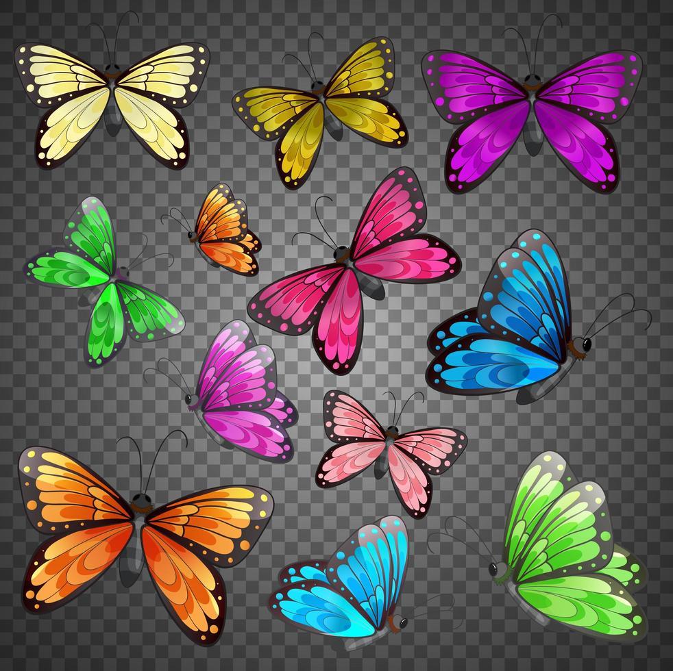 Conjunto de mariposas de diferentes colores sobre fondo transparente vector