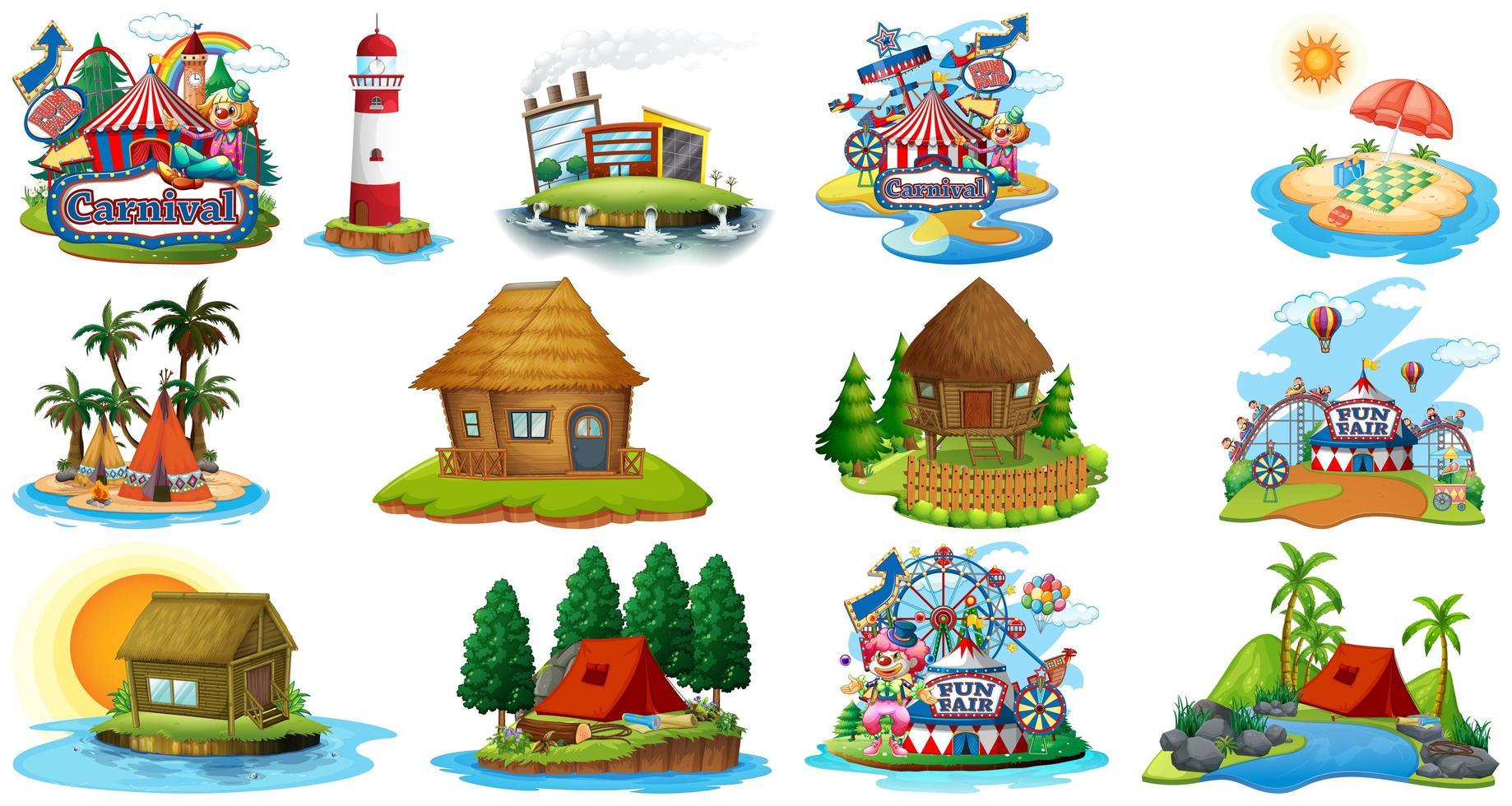 Conjunto de diferentes bangalows y tema de playa de la isla y parque de atracciones aislado sobre fondo blanco. vector