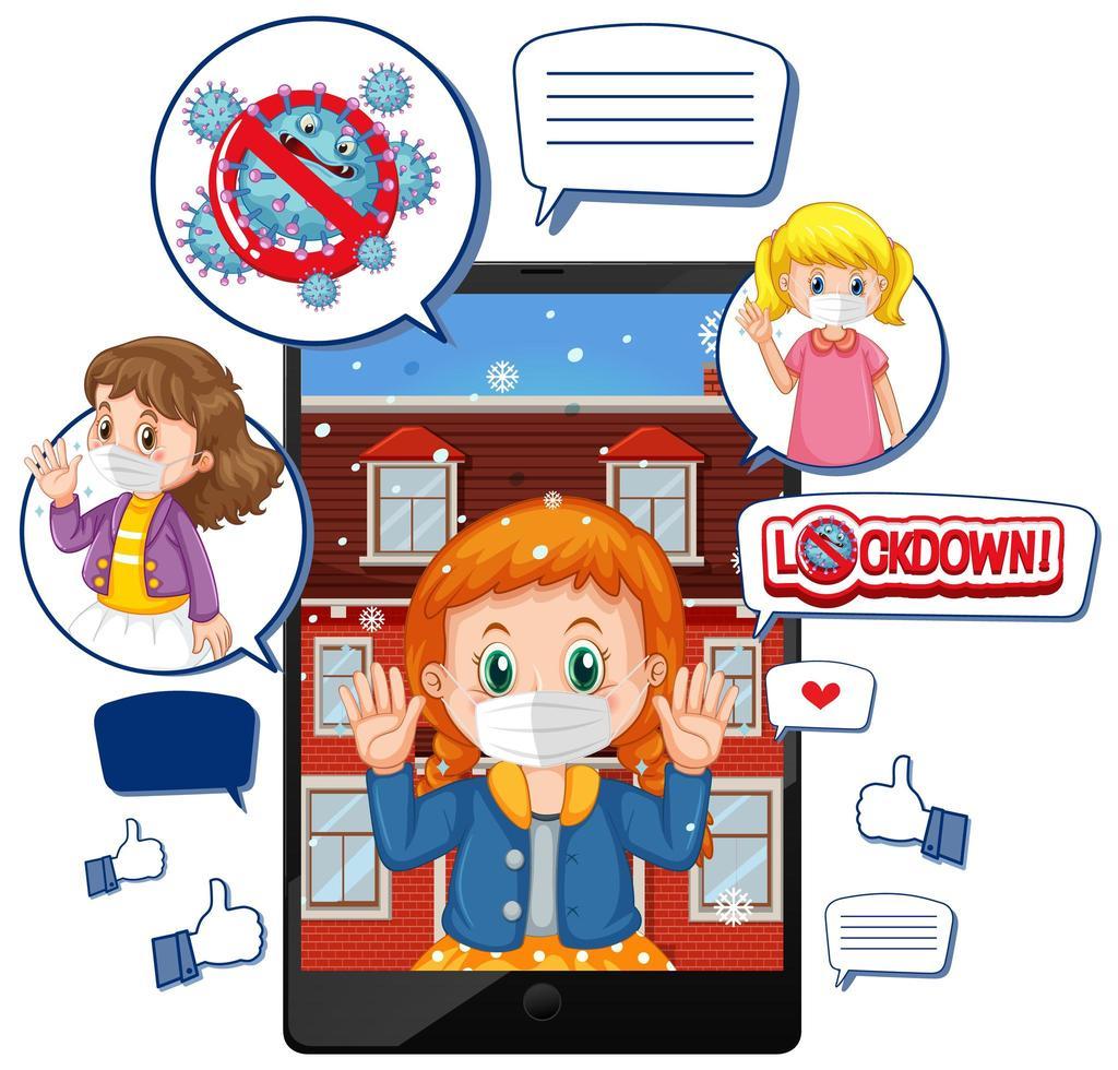 Videollamada de tableta sobre bloqueo y virus corona con icono de redes sociales sobre fondo blanco vector