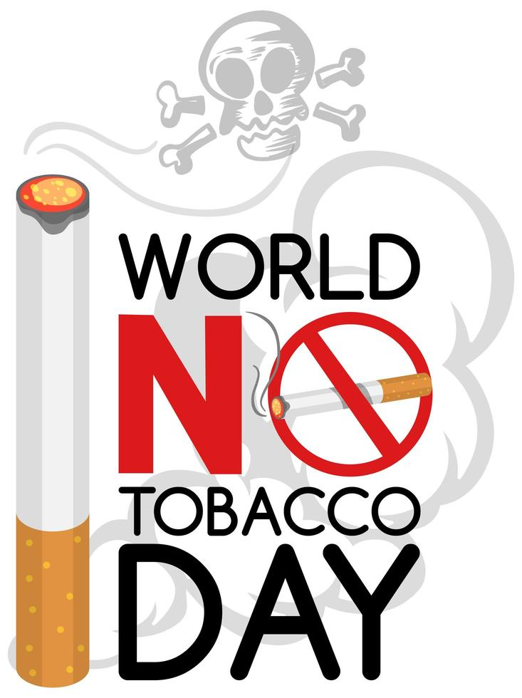 logotipo del día mundial sin tabaco con gran quema de tabaco y calavera vector
