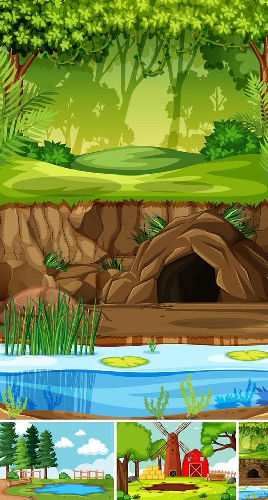 cuatro escenas diferentes en estilo de dibujos animados de entorno natural vector