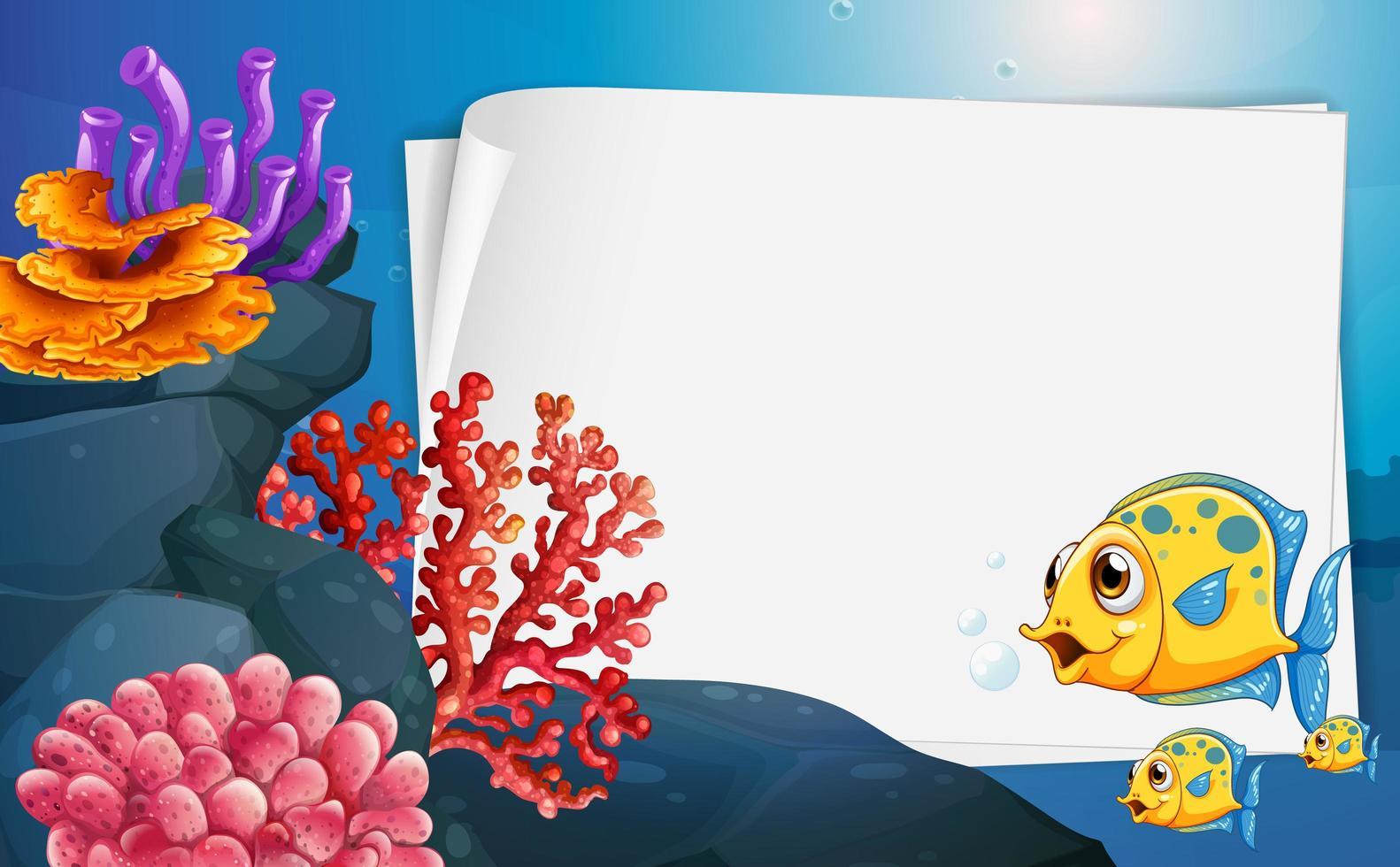 Banner de papel en blanco con peces exóticos y elementos de la naturaleza submarina en el fondo submarino vector
