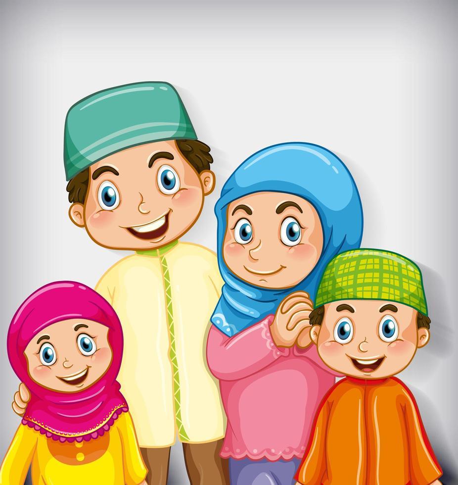 miembro de la familia musulmana sobre fondo degradado de color de personaje de dibujos animados vector