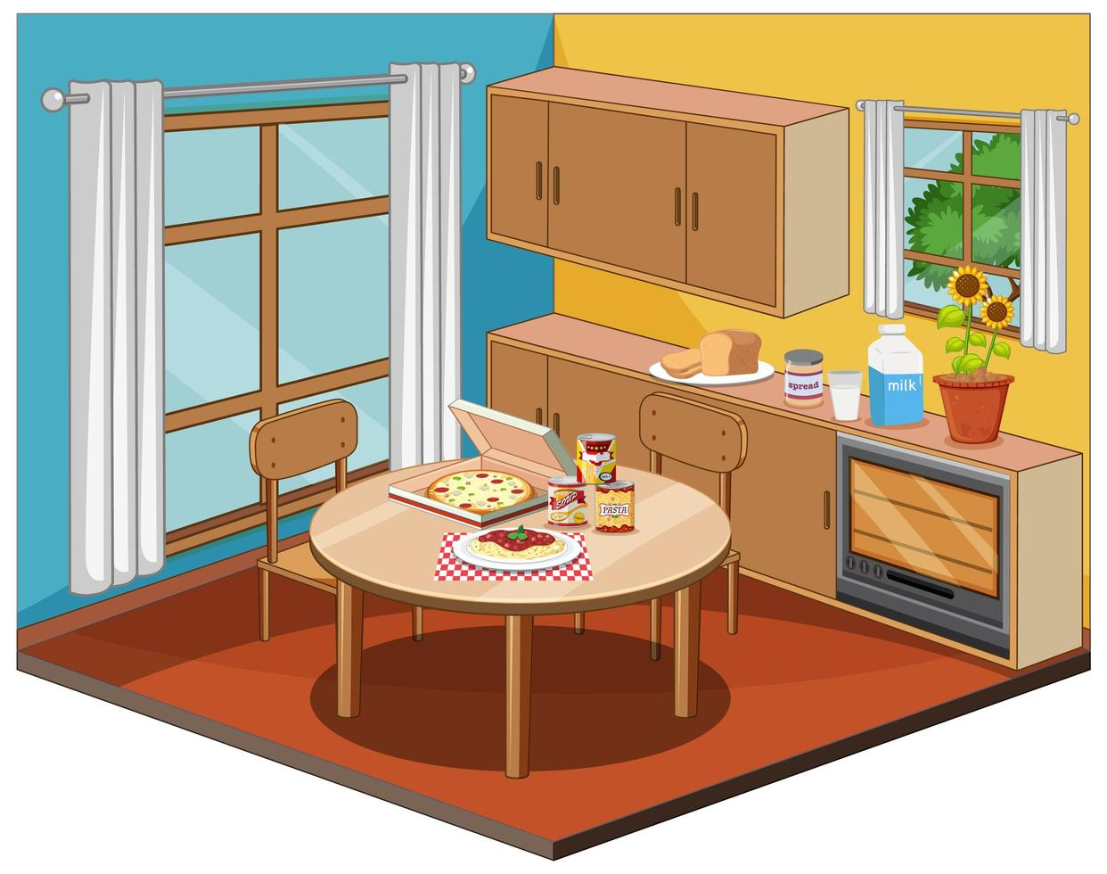 Dining room interior with furniture vector