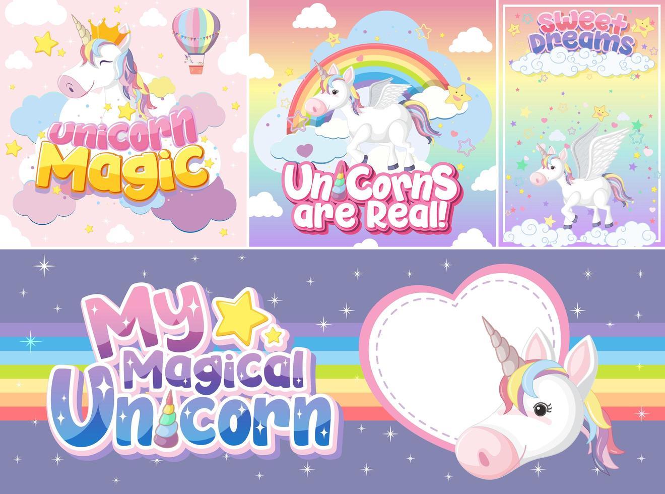 lindo banner de unicornio en color de fondo pastel vector
