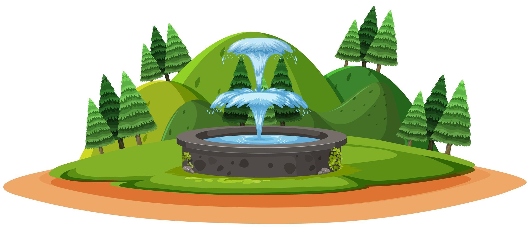 fuente en el bosque estilo de dibujos animados de dibujos animados sobre fondo blanco vector