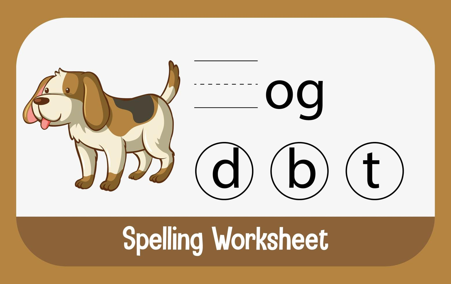 encontrar la letra que falta con el perro vector