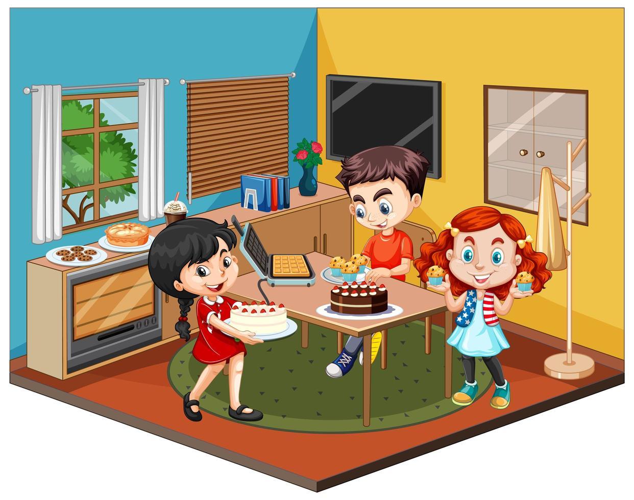 Niños en la escena del comedor sobre fondo blanco. vector