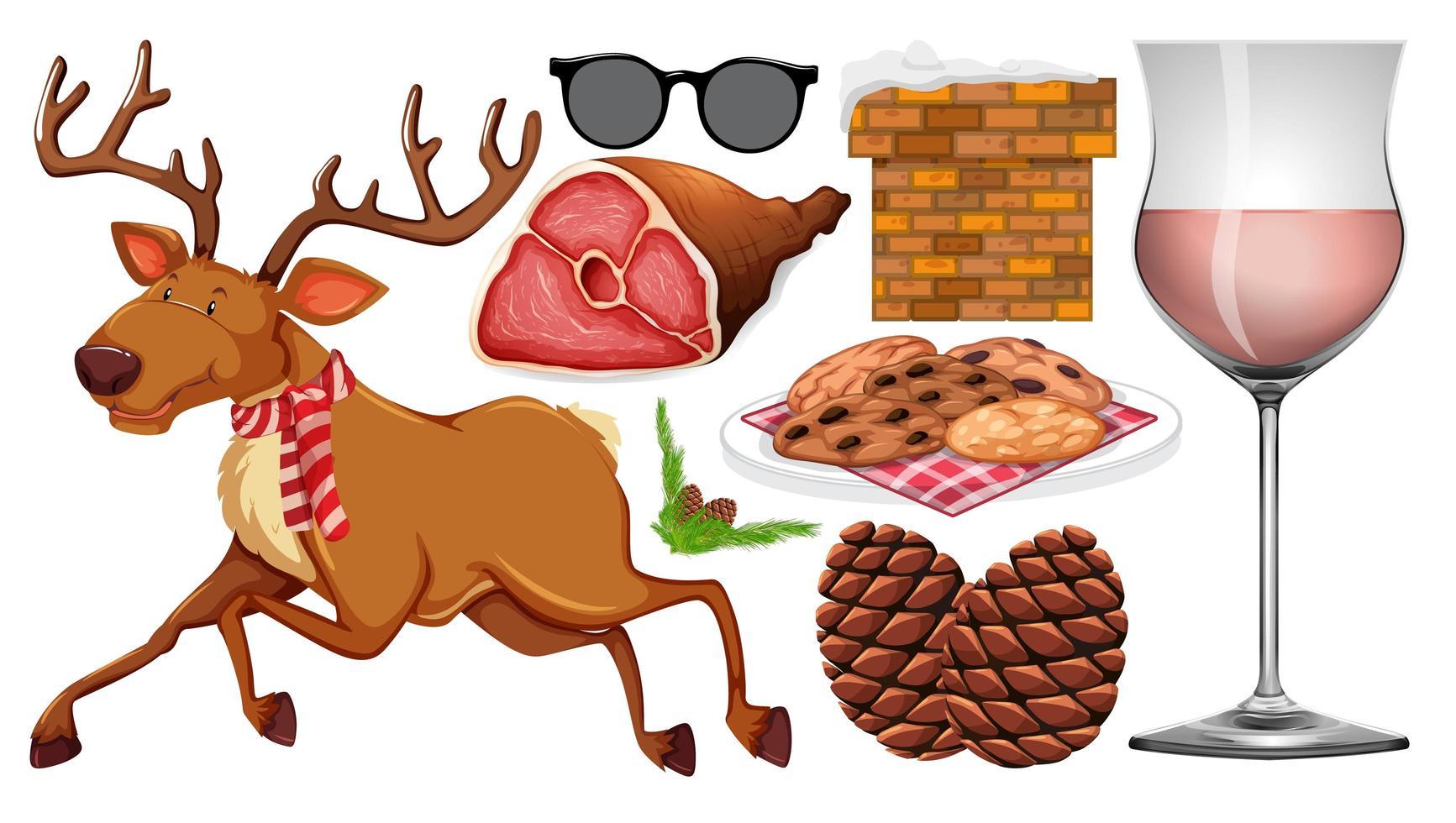 conjunto de objetos aislados de tema navideño vector