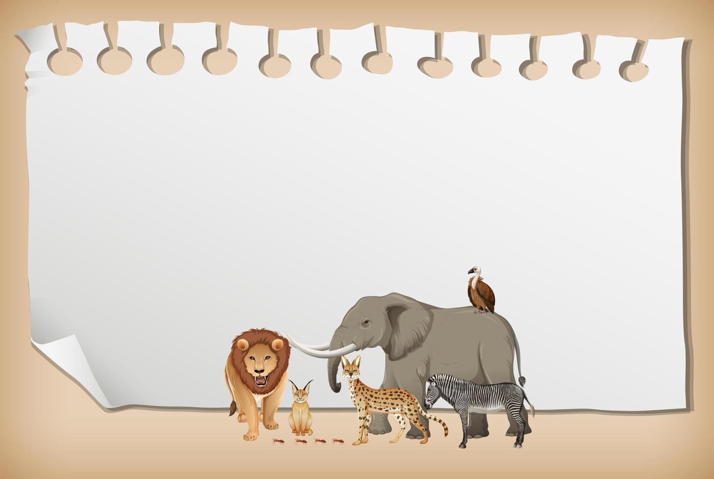 Banner de papel vacío con animal salvaje africano vector