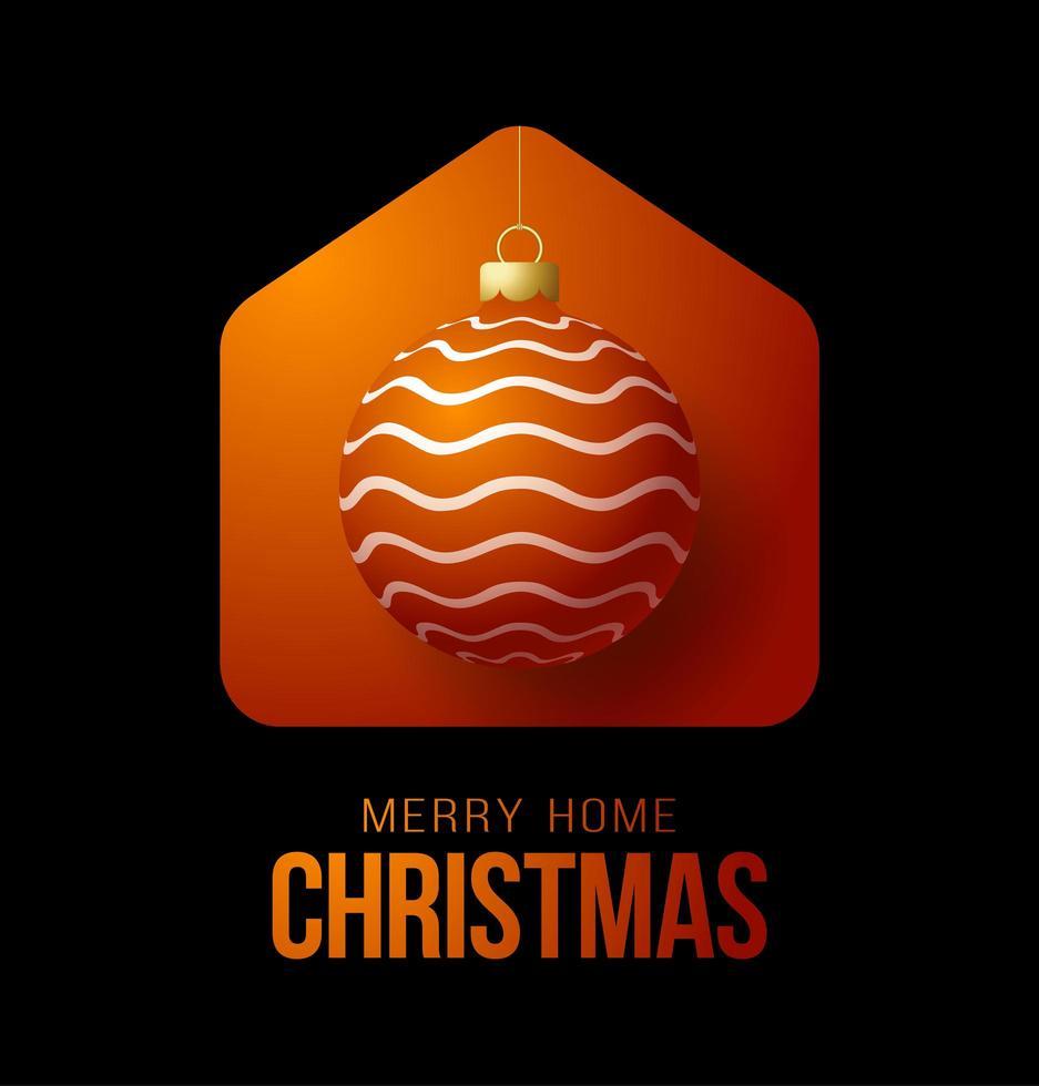 tarjeta de navidad feliz en casa roja con adorno de bola adornado vector