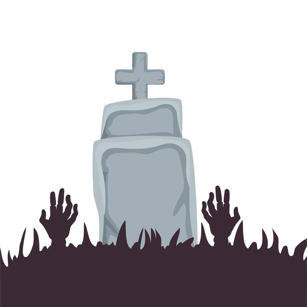 tumba de halloween con manos de zombie vector