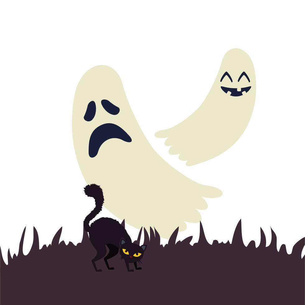 fantasmas de halloween con gato negro vector