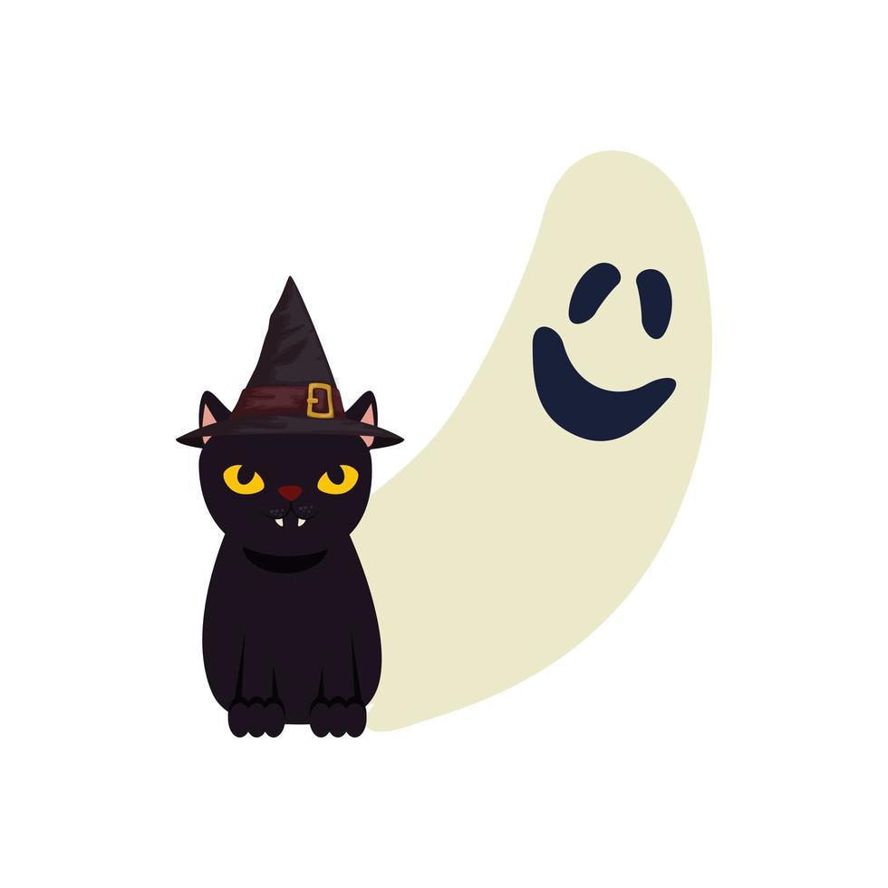 fantasma de halloween y gato negro vector
