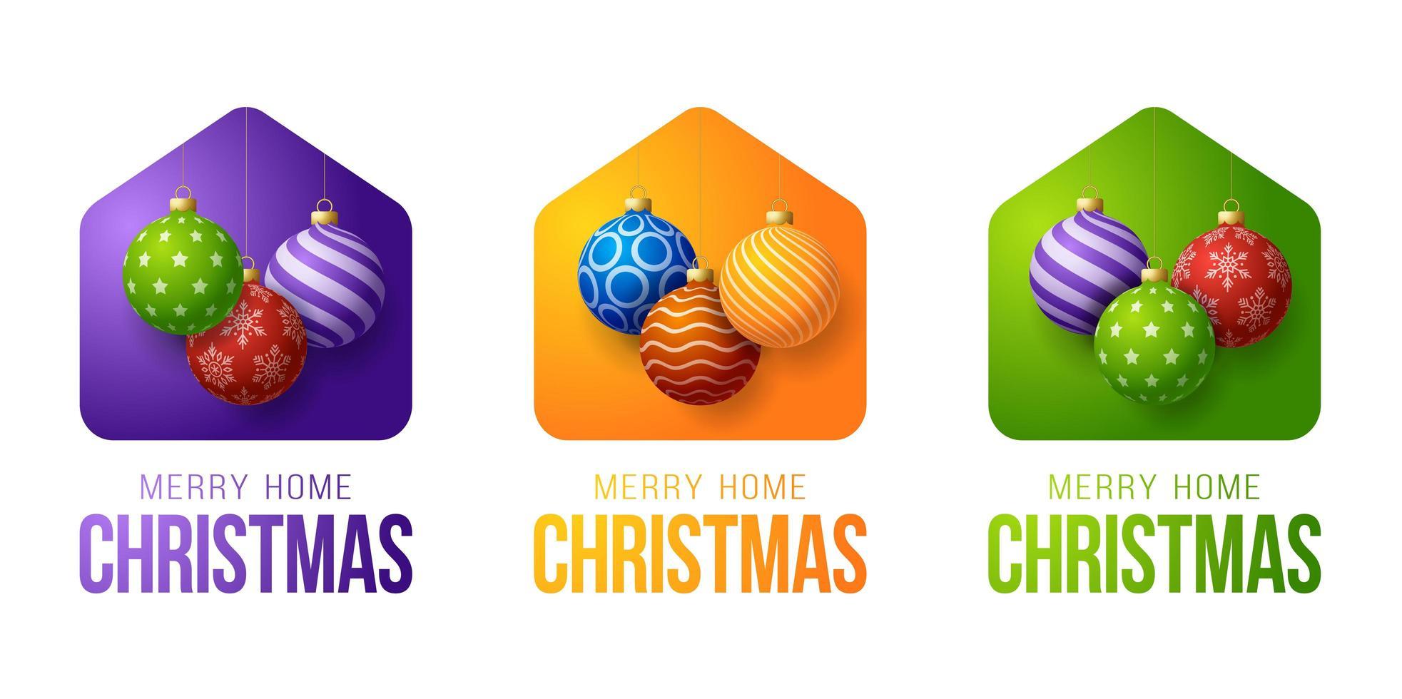 coloridas tarjetas navideñas de feliz hogar con adornos de bolas ornamentales vector