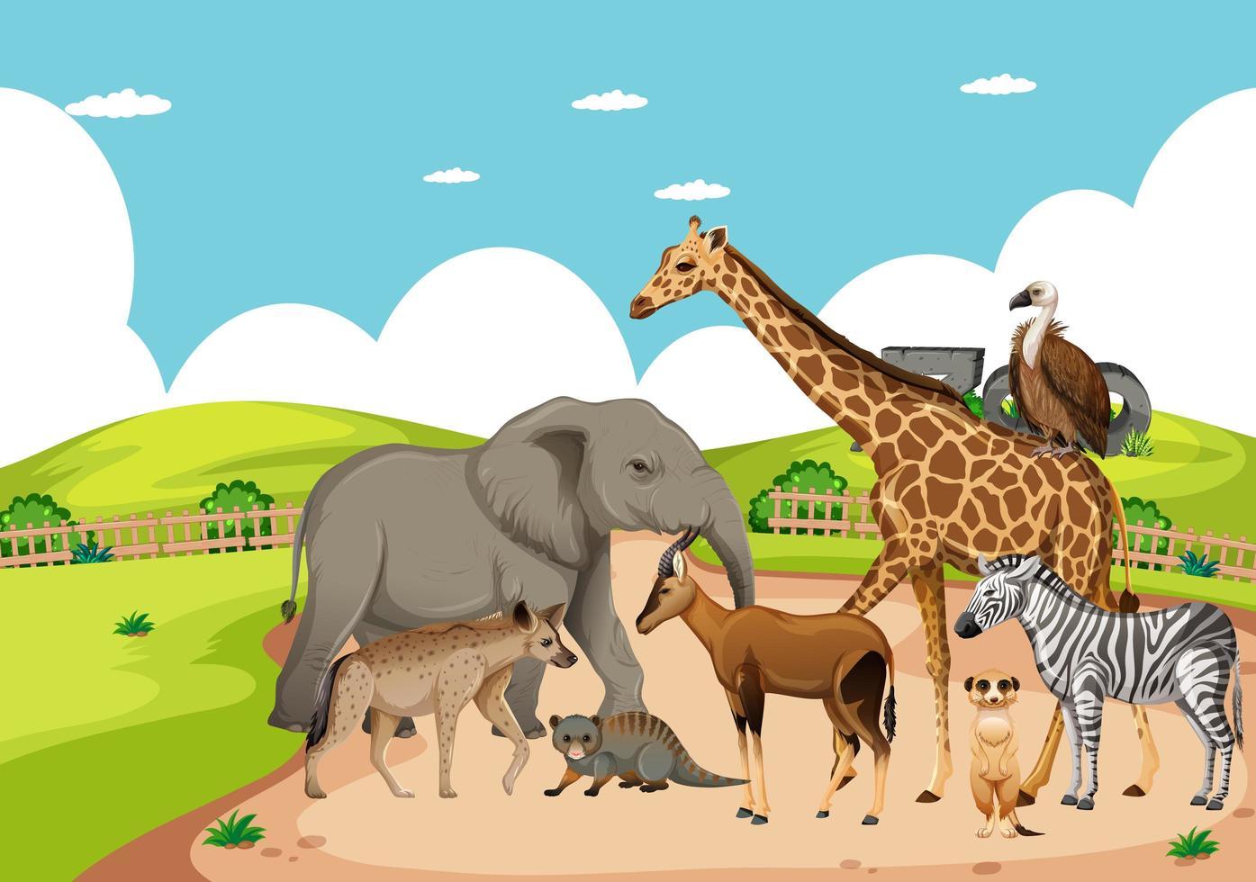 Grupo de animales salvajes africanos en la escena del zoológico vector