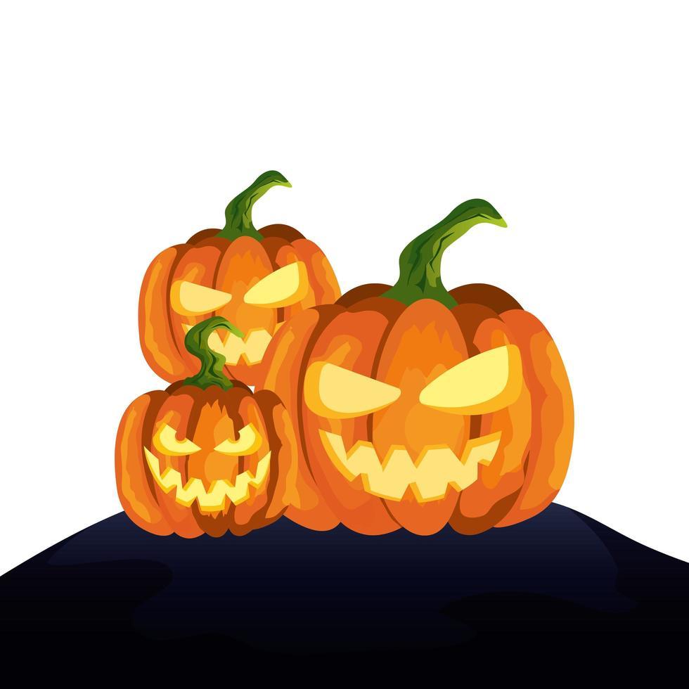 espeluznante composición de calabazas de halloween vector