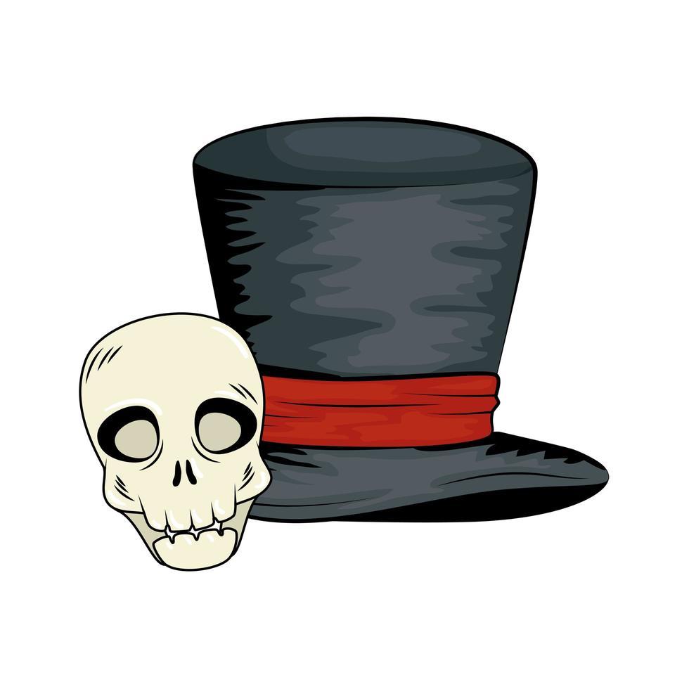 cráneo y sombrero de copa para la celebración de halloween vector