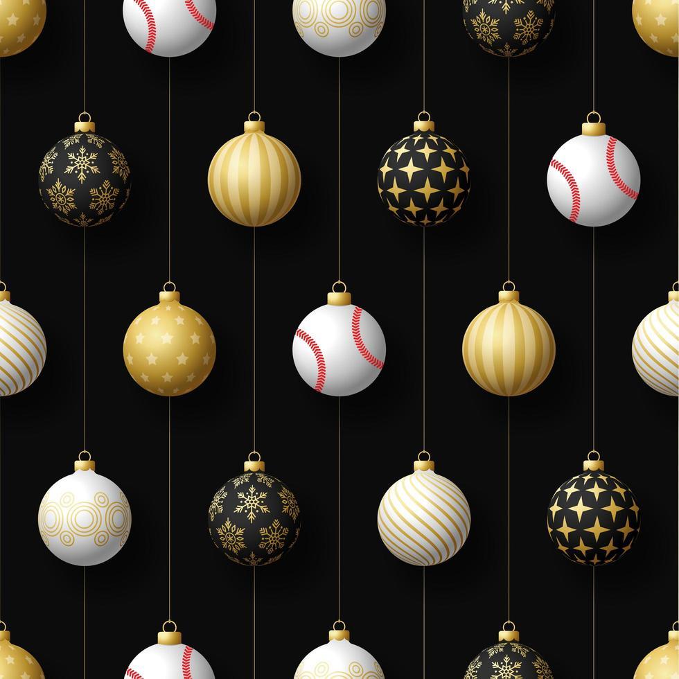 adornos navideños colgantes y patrones sin fisuras de béisbol vector