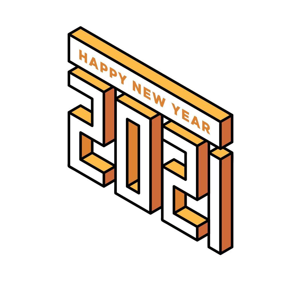 feliz año nuevo 2021 tipografía isométrica vector