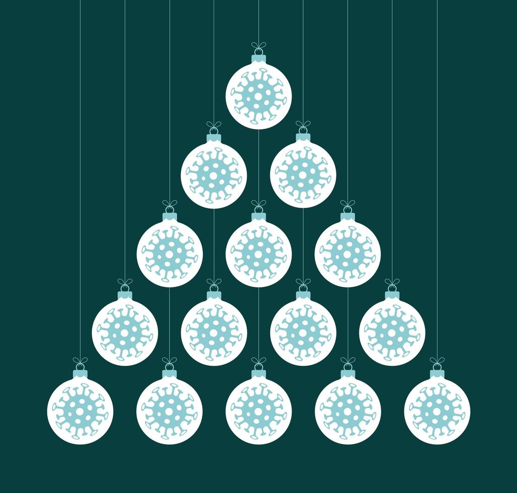 árbol de navidad creativo coronavirus hecho de bolas de adorno vector
