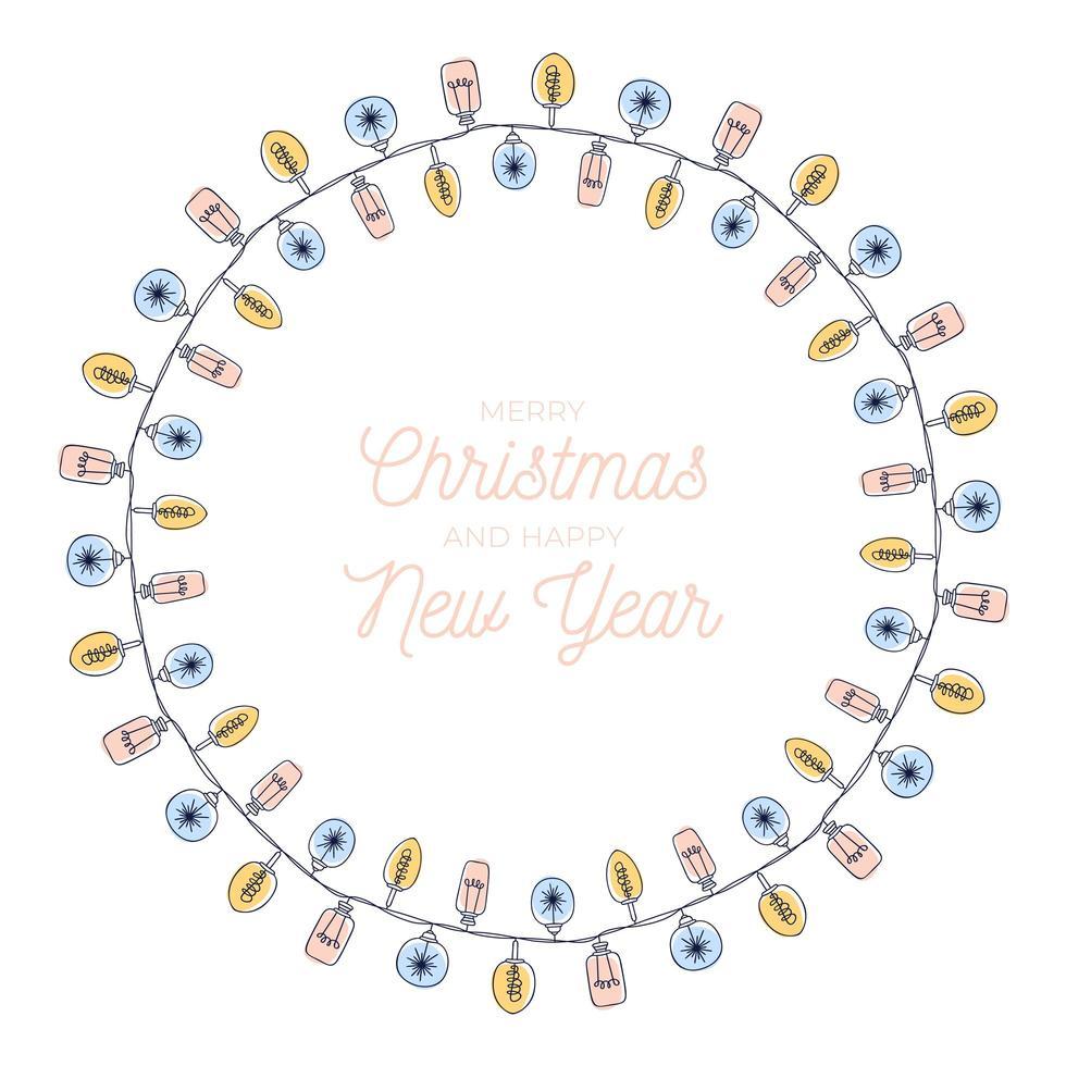 marco de círculo de guirnalda de bombilla de navidad dibujada a mano vector