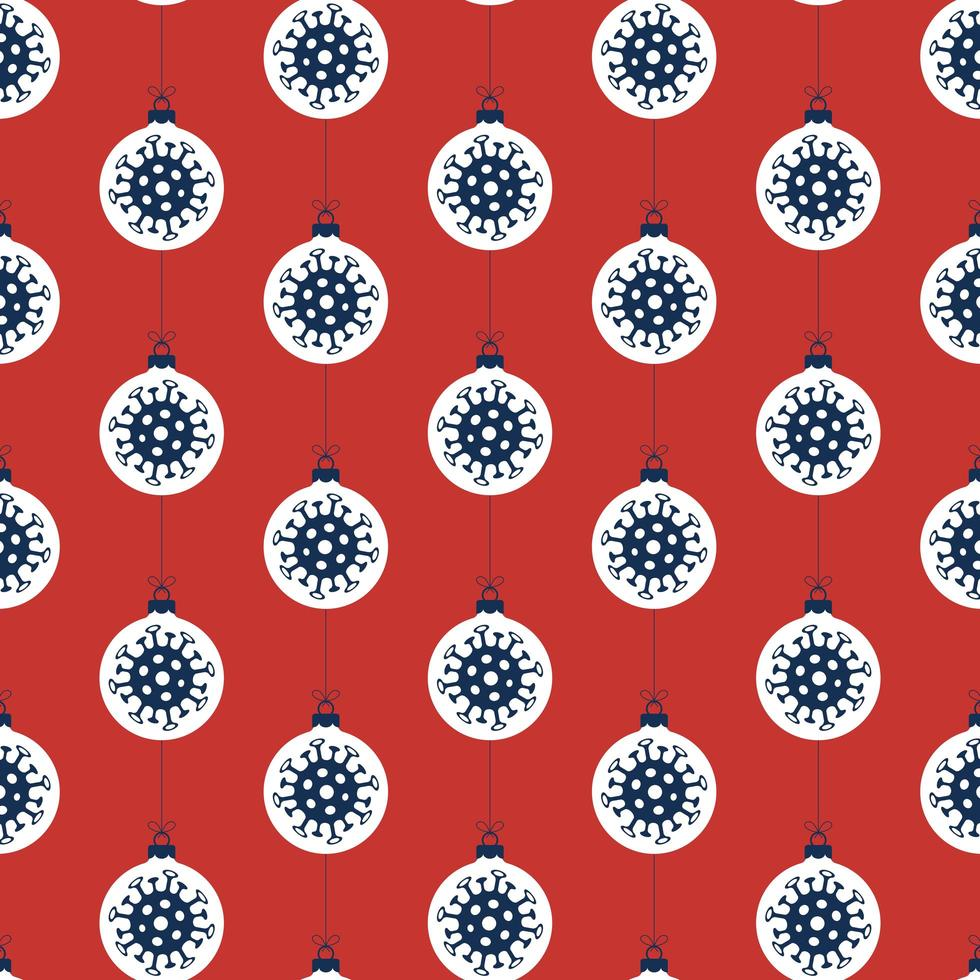 Coronavirus ornament Christmas seamless pattern vector