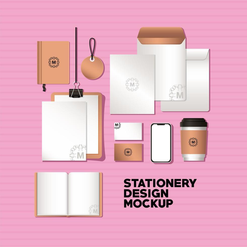conjunto de maquetas de teléfonos inteligentes y marcas vector