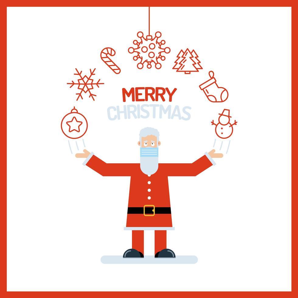 santa claus con adornos navideños vector