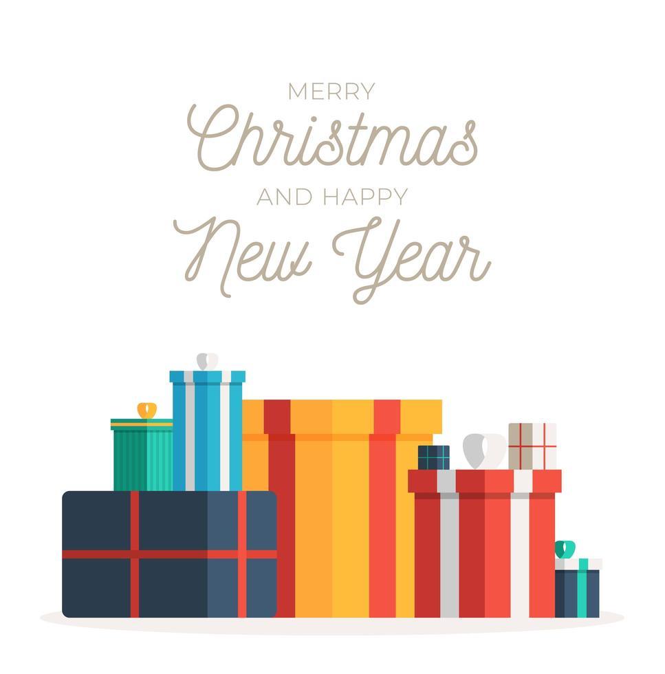 pila de coloridas cajas de regalo para navidad vector