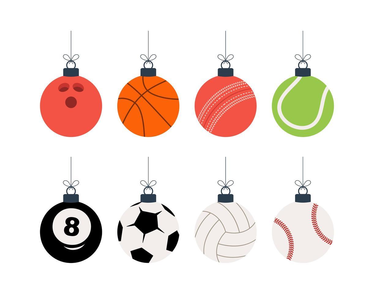 deporte bolas de navidad set vector