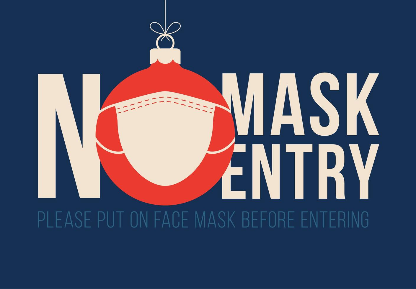 No mask no entry masked Christmas ornament sign vector