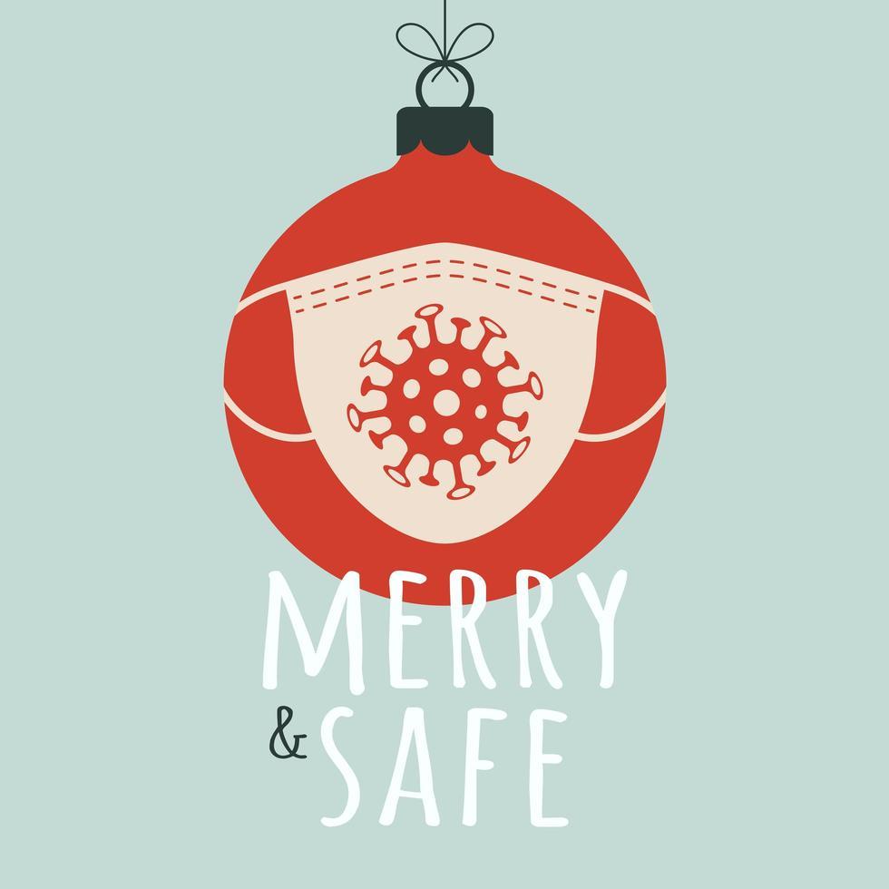 feliz y segura bola de navidad con mascarilla vector