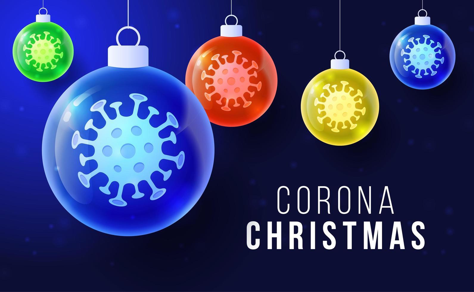concepto de navidad de coronavirus con adornos de bolas brillantes vector