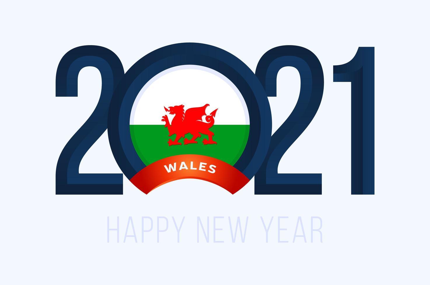 tipografía de año nuevo 2021 con bandera de gales vector