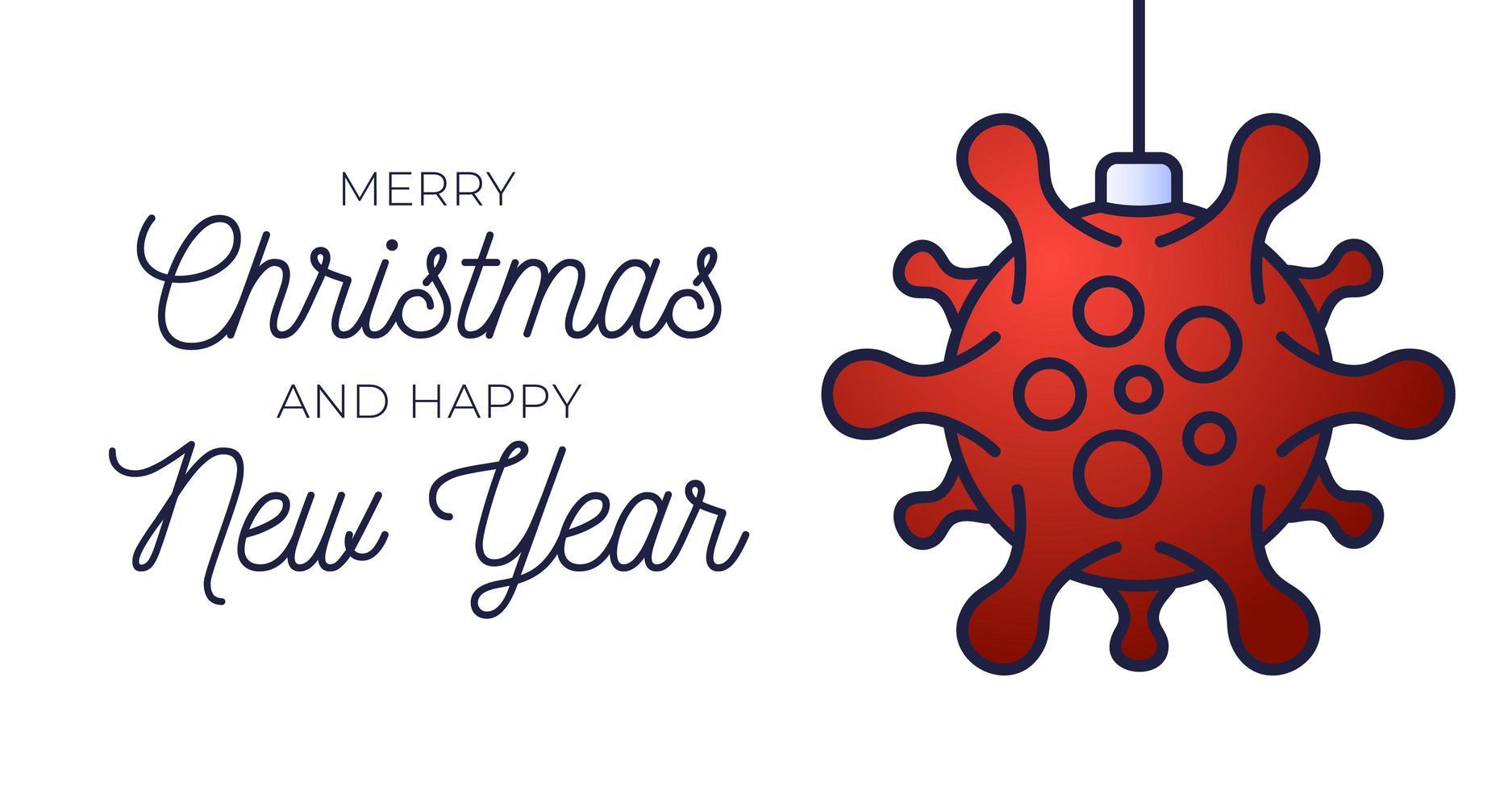 cartel de bola de navidad de coronavirus rojo vector