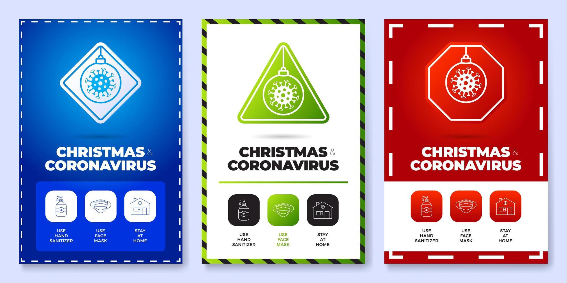 Christmas coronavirus all in one icon poster set vector