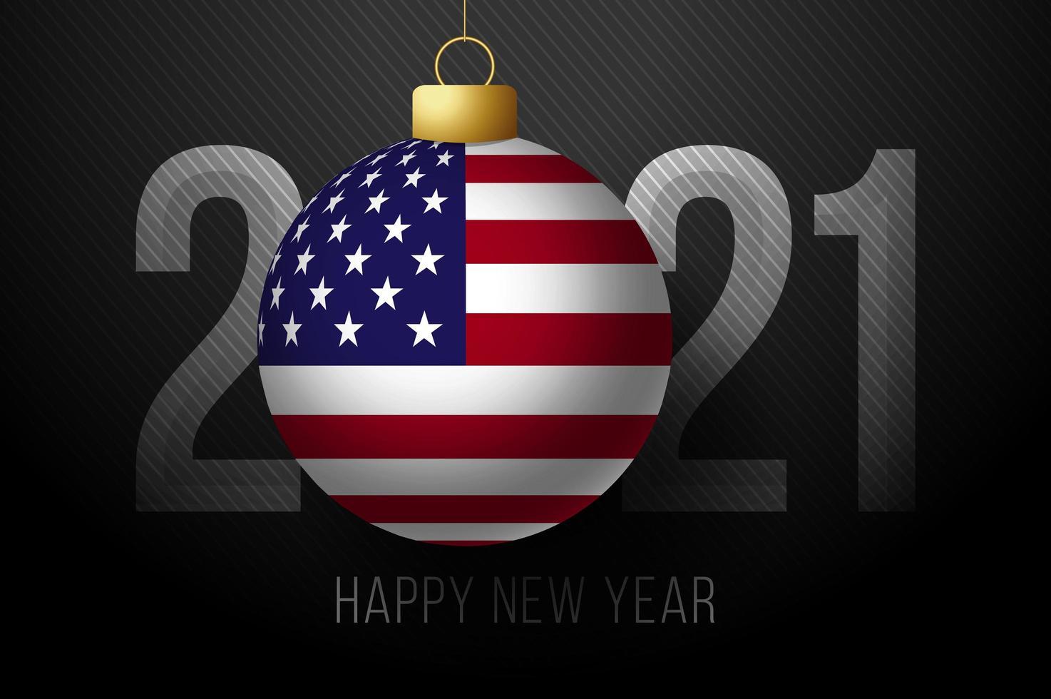 Tipografía de año nuevo 2021 con adorno de bandera de EE. UU. vector