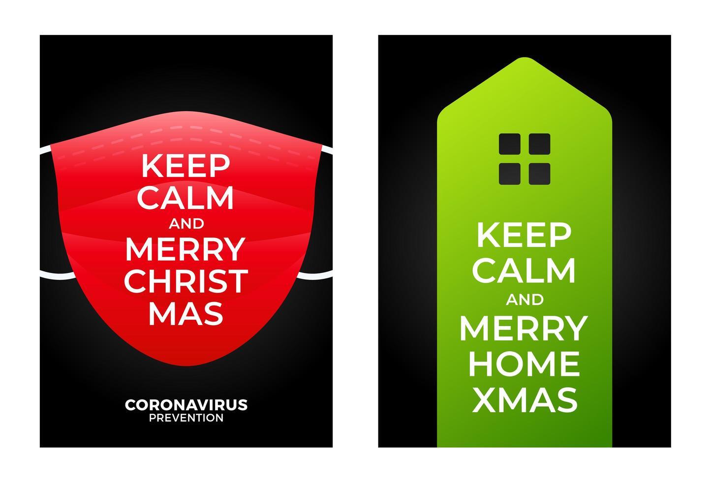 mantén la calma, feliz hogar, navidad, banner, concepto vector