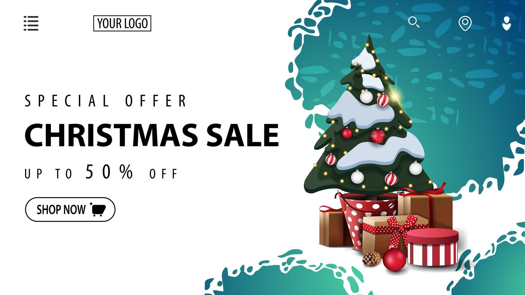 Christmas discount banner for website with abstract shapes vector