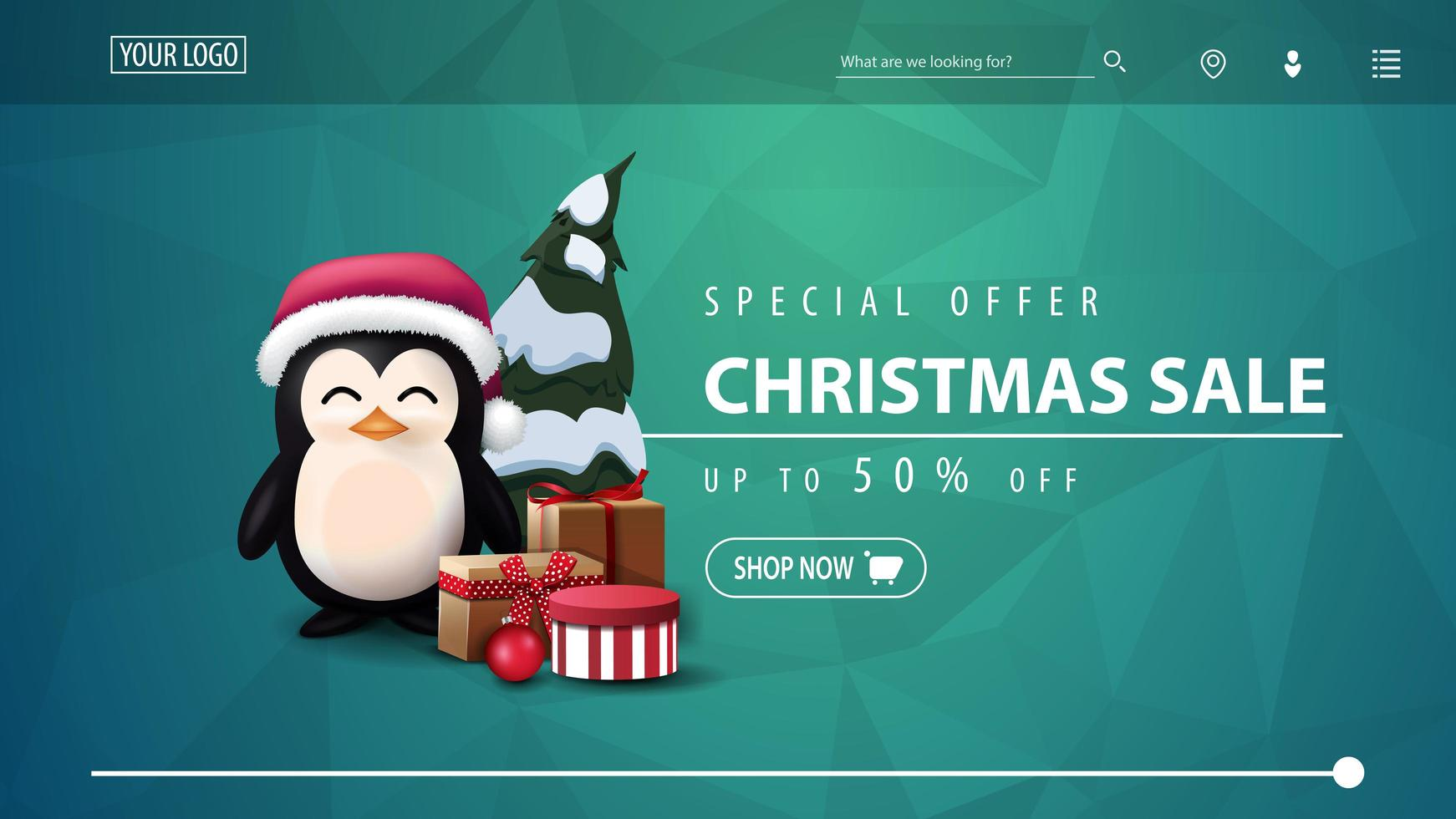 Discount banner for website with polygonal texture vector
