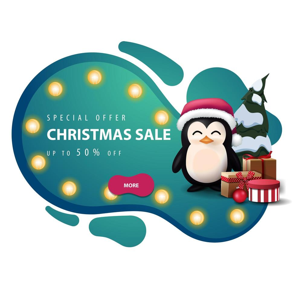 Christmas discount banner in lava lamp style with lights vector