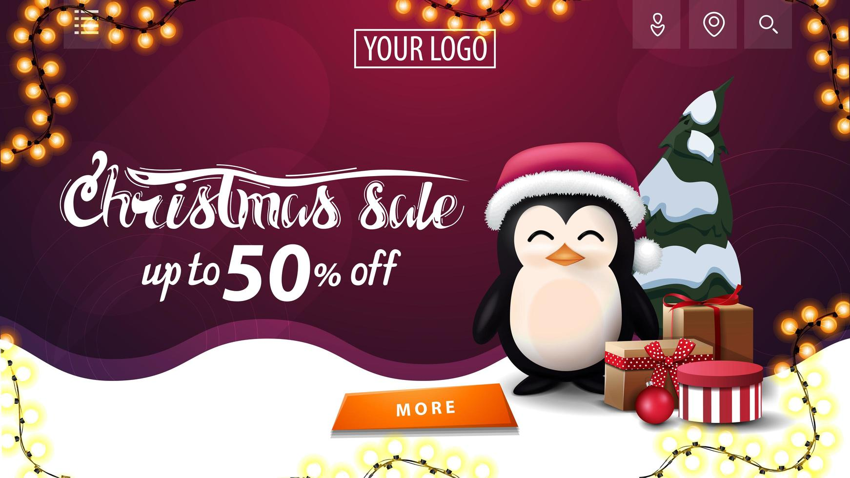 Discount banner with garland and wavy line vector